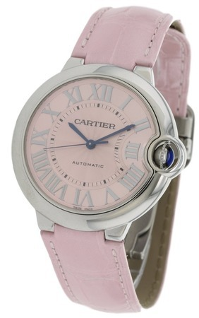 Cartier Ballon Bleu 36mm Pink Leather Automatic Women's Watch WSBB0007