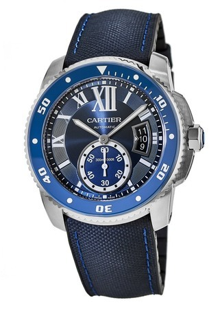 Cartier Calibre de Cartier Diver Blue Dial Leather Strap Men's Watch WSCA0010
