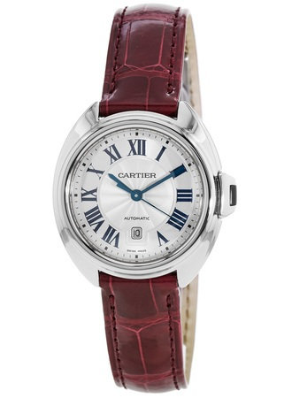 Cartier Cle de Cartier 31mm Bordeaux Alligator Leather Automatic Women's Watch WSCL0016