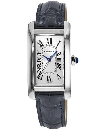 Cartier Tank Americaine Blue Leather Women's Watch WSTA0017