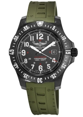 Breitling Colt Skyracer Breitlight Army Green Rubber Men's Watch X74320E4/BF87-298S