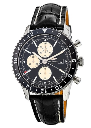 Breitling Chronoliner  Ceramic Pilots Chronograph GMT Crocodile Men's Watch Y2431012/BE10-760P