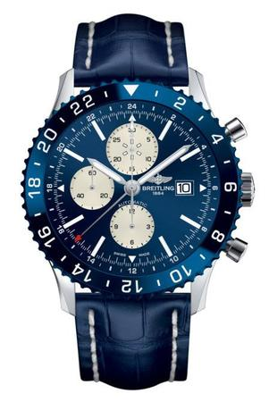 Breitling Chronoliner  Blue Dial Blue Leather Men's Watch Y2431016/C970-746P