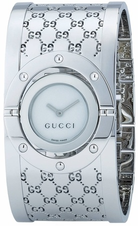 Gucci Twirl  Medium Bangle Bracelet 33mm White Dial Women's Watch YA112413