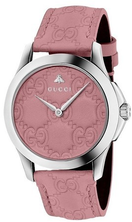 Gucci G-Timeless  Pink Dial Pink Leather Strap Women's Watch YA1264030