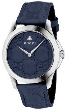 Gucci G-Timeless  Blue Dial Blue Leather Strap Men's Watch YA1264032
