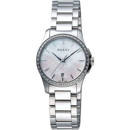 Gucci G-Timeless  Mother of Pearl Diamond Dial Women's Watch YA126543