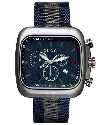 Gucci Coupe  Chronograph Blue Dial Blue and Grey Fabric Men's Watch YA131203