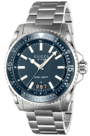 Gucci Dive  Blue Dial Stainless Steel Men's Watch YA136203