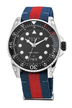 Gucci Dive  Black Dial Blue and Red Nylon Men's Watch YA136210