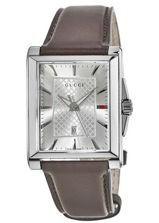 Gucci G-Timeless  Rectangle Silver Dial Brown Leather Strap Men's Watch YA138405