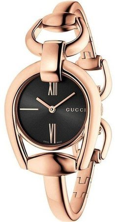Gucci Horsebit  Black Dial Rose Gold Women's Watch YA139507