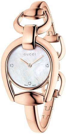 Gucci Horsebit  Mother of Pearl Dial Rose Gold Women's Watch YA139508