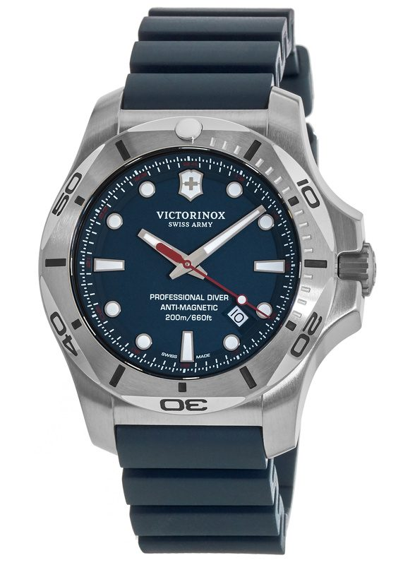 Victorinox Swiss Army I.N.O.X. Professional Diver Blue Dial Rubber Strap  Men s Watch 241734 432185e49