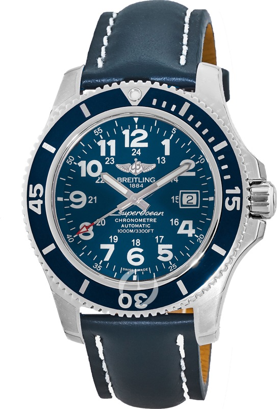 4c2b92ddf5e Breitling Superocean II 44 Automatic Blue Dial Leather Strap Men s Watch  A17392D8 C910-105X