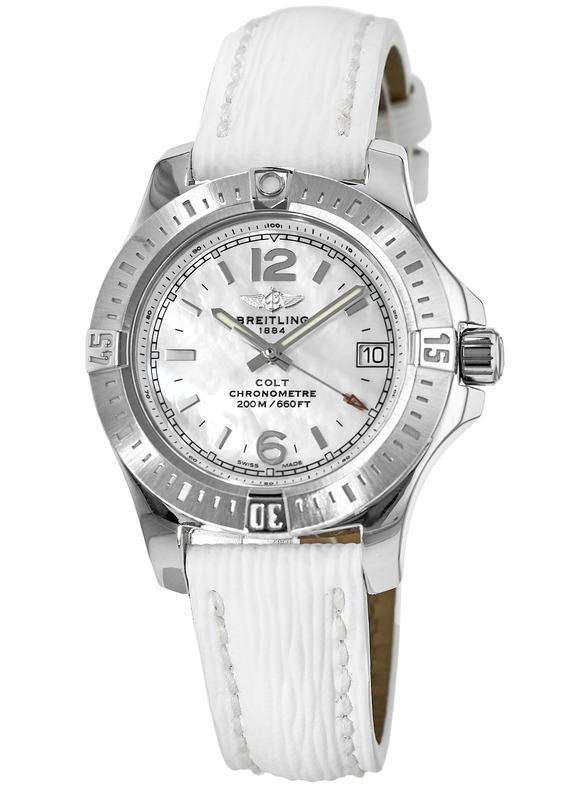 Breitling Colt Mother of Pearl Dial White Sahara Leather Strap Women s  Watch A7738811 A770-235X 4e7c22307d9
