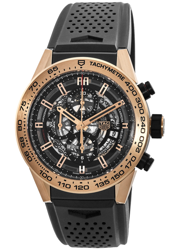 Tag Heuer Carrera Calibre Heuer 01 18kt Rose Gold Black Skeleton Dial Men S Watch Car2a5b Ft6044