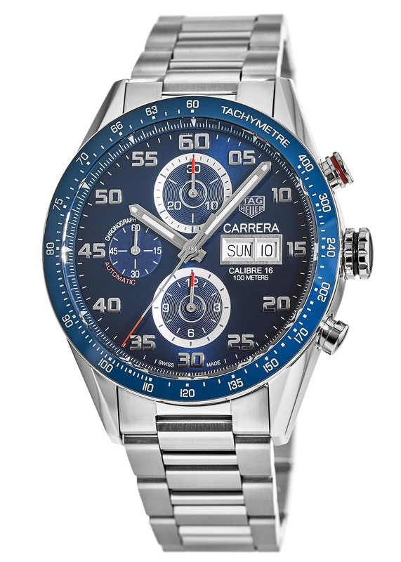 e252e855ec9 Tag Heuer Carrera Calibre 16 Chronograph Day Date Blue Dial Steel Men s  Watch CV2A1V.BA0738