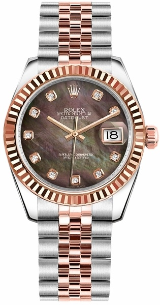 cd708a5eea6 Rolex Datejust 31 Black Mother of Pearl Diamond Dial Women s Watch  M178271-0032. Polished Rose Gold   Stainless Steel ...