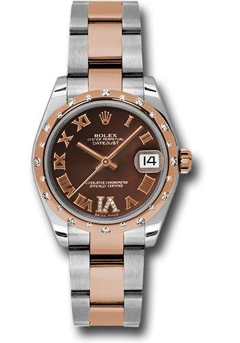 Rolex Datejust 31 Chocolate Dial Steel and Everose Gold Diamond Women s  Watch M178341-0010 7c8b77499