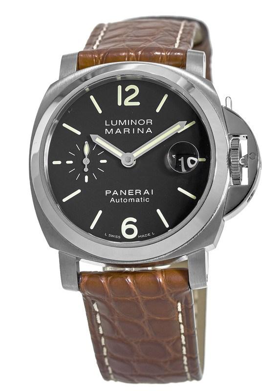 Panerai Luminor Marina Automatic Acciaio Automatic Black Dial Leather Strap  Men s Watch PAM00048-SD 2e61eabe9b6b