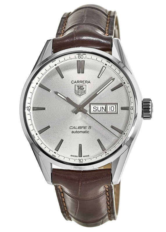 Omega Leather Watch Strap >> Tag Heuer WAR201B.FC6291 Carrera Calibre 5 Day-Date Men's Watch - WatchMaxx.com