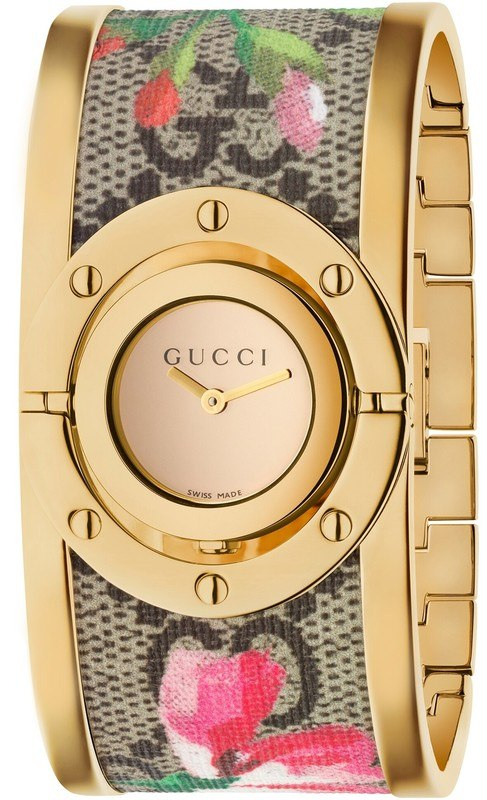 2860df62383d6 Gucci Twirl Bloom Gold Twirling Dial Gold-plated and Floral Women s Watch  YA112443