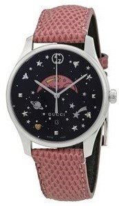 d9a352579a7 Gucci G-Timeless Black Moonphase Dial Pink Leather Strap Women s Watch  YA1264046